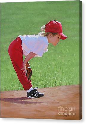 Taking An Infield Position Canvas Print by Emily Land