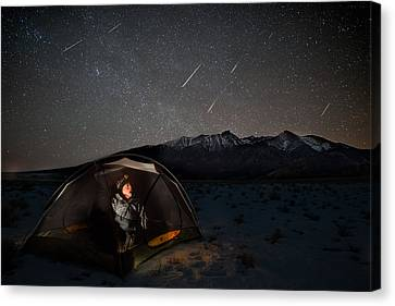 Copyright 2013 By Mike Berenson Canvas Print - Taking Cover From The Quadrantids Meteor Shower by Mike Berenson