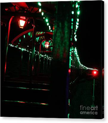 Taking In The Lights Riding The Rails Canvas Print by Scott Allison
