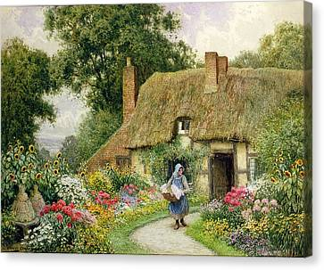 Daisy Canvas Print - Taking Out The Washing by Arthur Claude Strachan