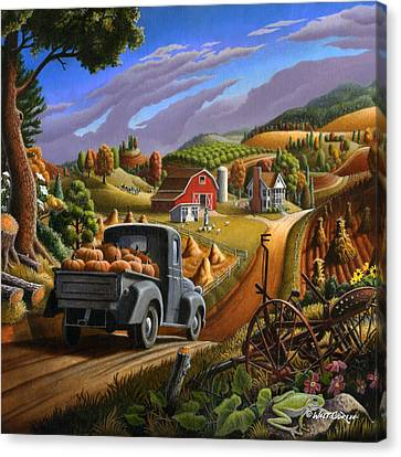 Old Country Roads Canvas Print -  Farm Americana - Taking Pumpkins To Market Country Farm Landscape - Square Format by Walt Curlee