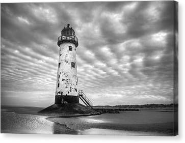 Talacre Lighthouse Monochrome Canvas Print