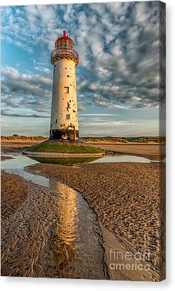 Talacre Lighthouse Sunset Canvas Print by Adrian Evans