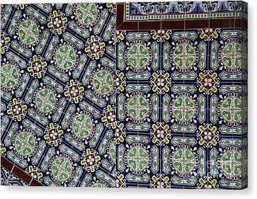 Talavera Tile Puebla Canvas Print by Linda Queally