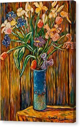 Tall Blue Vase Canvas Print by Kendall Kessler
