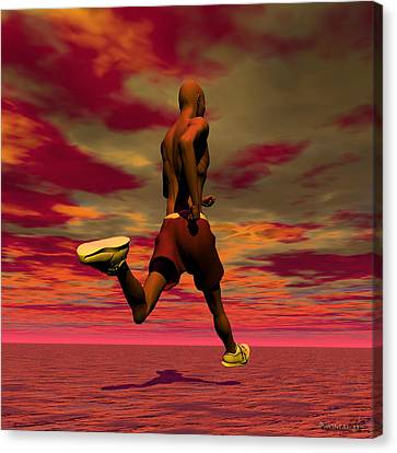 Tall Runner Canvas Print by Walter Oliver Neal