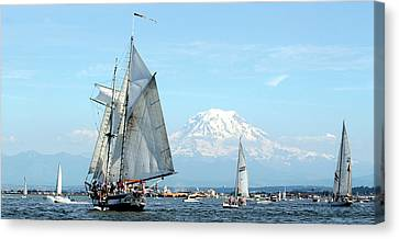 Tall Ship And Mount Rainier Canvas Print by John Bushnell