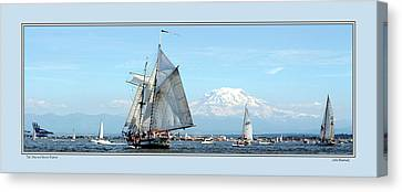 Tall Ship And Mt. Rainier Canvas Print
