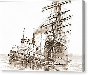Tall Ship Assist Sepia Canvas Print by James Williamson