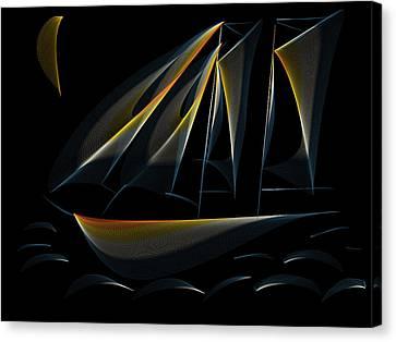Tall Ship Dark Night Canvas Print by Heidi Smith