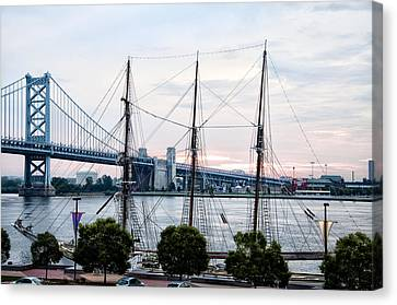 Tall Ship Gazela At Penns Landing Canvas Print by Bill Cannon
