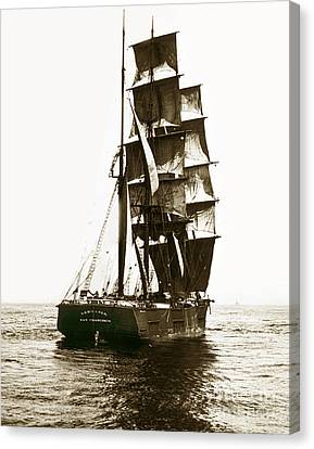 Canvas Print featuring the photograph Tall Ship Germania Out Of San Francisco California  Circa 1900 by California Views Mr Pat Hathaway Archives