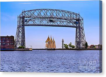Duluth Canal Park Canal Park Lighthouse Lighthouse Lake Superior Minnesota Canvas Print - Tall Ship Goodbye by Bryan Benson