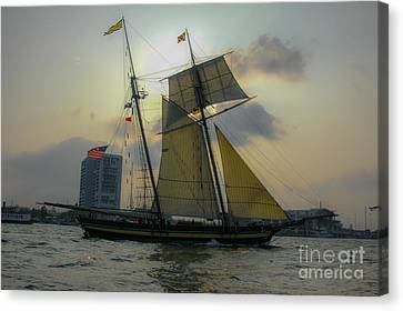 Canvas Print featuring the photograph Tall Ship In Charleston by Dale Powell