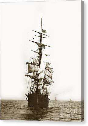 Canvas Print featuring the photograph Tall Ship Sailing Out Of San Francisco California Circa 1900 by California Views Mr Pat Hathaway Archives