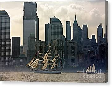 Tall Ship Sailing Past The New York Skyline Canvas Print by Nishanth Gopinathan