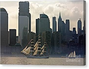 Tall Ship Sailing Past The New York Skyline Canvas Print