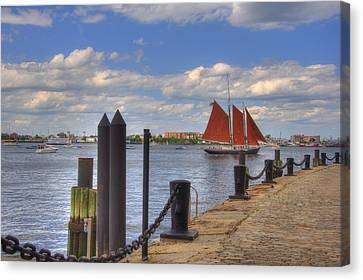 Tall Ship The Roseway In Boston Harbor Canvas Print by Joann Vitali