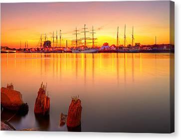 Tall Ships At Bay Canvas Print