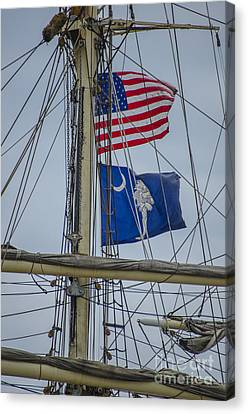 Canvas Print featuring the photograph Tall Ships Flags by Dale Powell