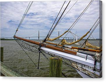 Canvas Print featuring the photograph Tall Ships In Charleston by Dale Powell