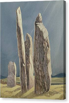 Archaeology Canvas Print - Tall Stones Of Callanish Isle Of Lewis by Evangeline Dickson