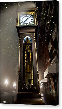 Tall Vancouver Steam Clock Canvas Print by James Wheeler