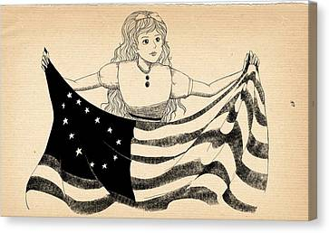 Canvas Print featuring the drawing Tammy And The Flag by Reynold Jay