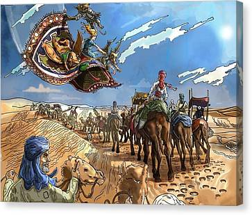 Canvas Print featuring the painting Tammy And The Flying Carpet by Reynold Jay