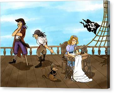 Canvas Print featuring the painting Tammy And The Pirates by Reynold Jay