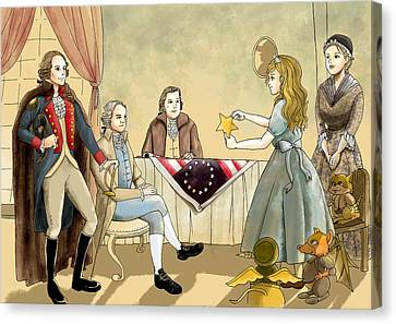 Canvas Print featuring the painting Tammy Meets Betsy Ross And George Washington by Reynold Jay