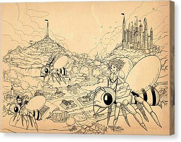 Canvas Print featuring the drawing Flight Over Capira by Reynold Jay
