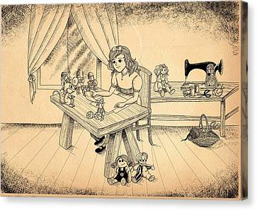 Canvas Print featuring the drawing Tammy Meets Alfred The Mouse by Reynold Jay