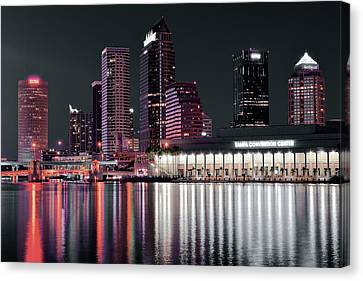 Tampa Bay Black Night Canvas Print by Frozen in Time Fine Art Photography