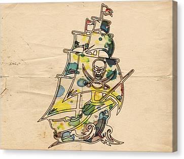 Tampa Bay Buccaneers Vintage Art Canvas Print by Florian Rodarte