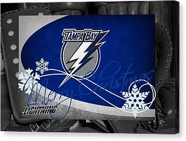 Skating Canvas Print - Tampa Bay Lightning Christmas by Joe Hamilton
