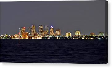 Canvas Print featuring the photograph Tampa City Skyline At Night 7 November 2012 by Jeff at JSJ Photography