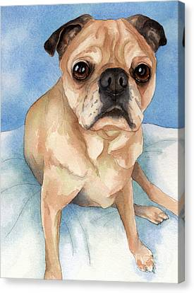 Tan And Black Pug Dog Canvas Print by Cherilynn Wood
