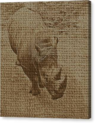 Tan Rhino Canvas Print by Jerry Hart
