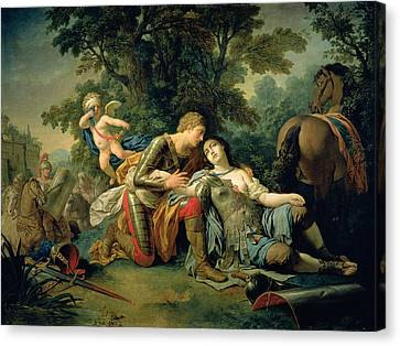 Tancred And Clorinda, 1761 Canvas Print by Louis Jean Francois I Lagrenee