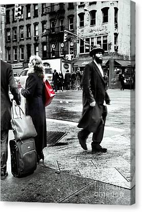 Tangents - A Walk In The City Canvas Print by Miriam Danar
