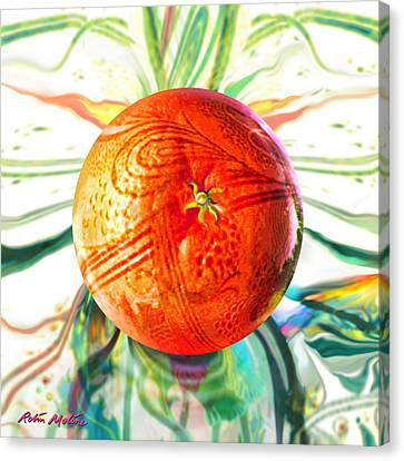 Canvas Print featuring the painting Tangerine Orb Nouveau by Robin Moline