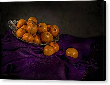 Tangerines In A Shell Platter Canvas Print by Leah McDaniel