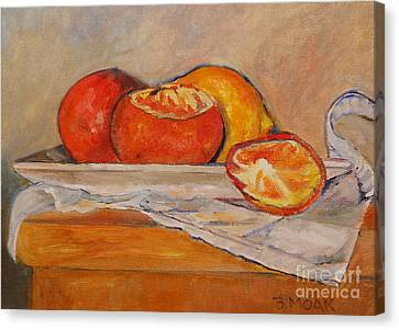 Tangerines With Lemon Canvas Print by Barbara Moak
