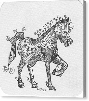Tangle Horse 2 Canvas Print by Quwatha Valentine