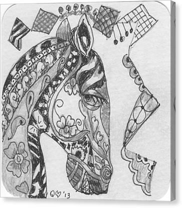 Tangle Horse 3 Canvas Print by Quwatha Valentine