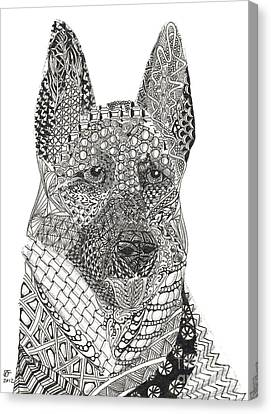 Tangled German Shepherd Canvas Print