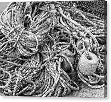 Tangled Rope On Dock In Maine Canvas Print by Keith Webber Jr