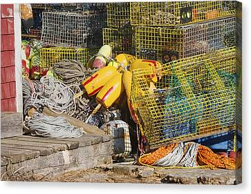 Tangled Rope And Lobster Traps On Dock In Maine Canvas Print