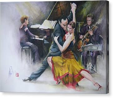 Canvas Print featuring the painting Tango by Alan Kirkland-Roath